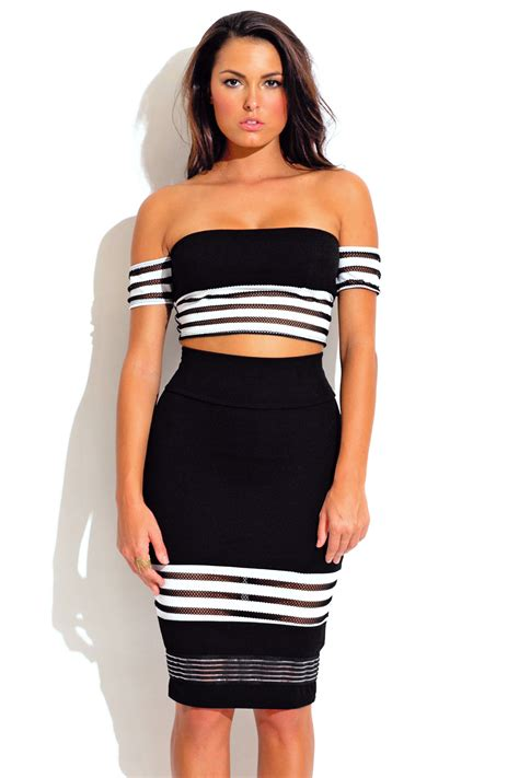 Stripe Belt Set Top Shorts Grey black stripe mesh bodycon crop and high waisted skirt two