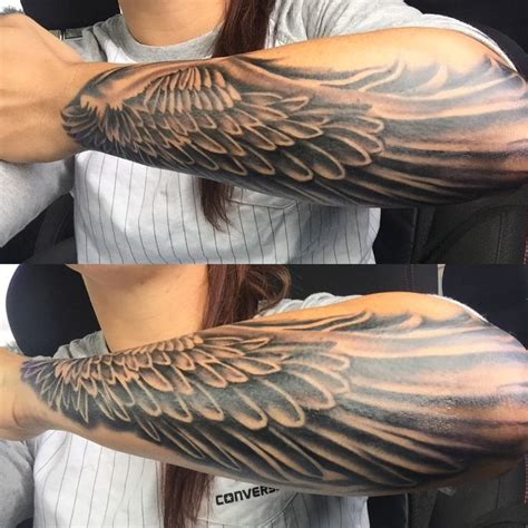 angel wing tattoo on forearm mens wing forearm 1 ideas