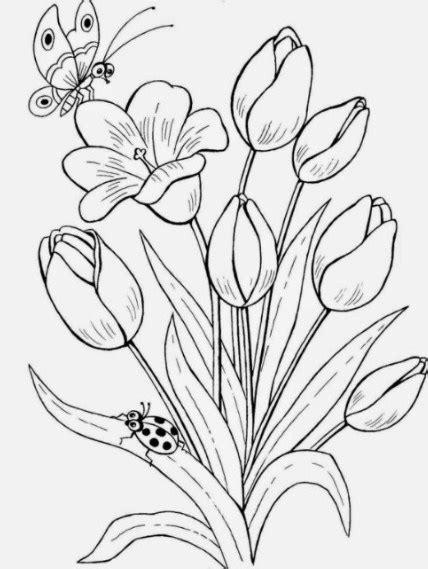 Slop Bunga Hitam sketsa gambar taman bunga tulip bingkaigambar