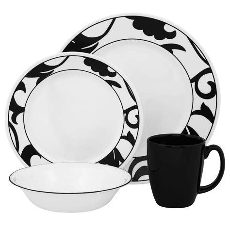 Black Pattern Dinner Set | corelle vive noir 16pc dinnerware set home dining