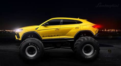 lifted lamborghini lamborghini urus monster truck rendered as the lifted