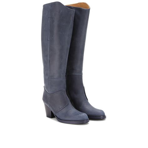 leather boots acne studios pistol kneehigh leather boots in blue navy