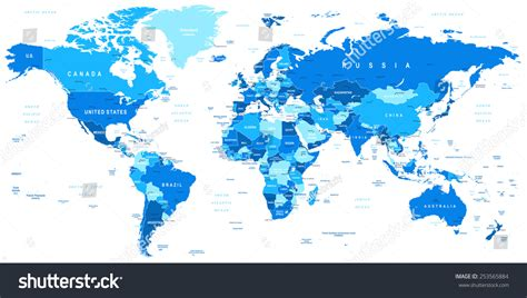 illustration of world map with country name blue world map borders countries cities stock vector