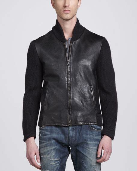 leather jacket with knit sleeves dolce gabbana leather jacket with knit sleeves serafino