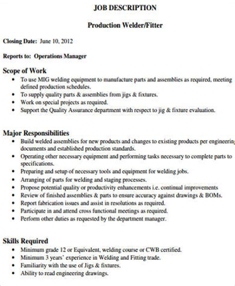 description of a welder 28 images welders resume