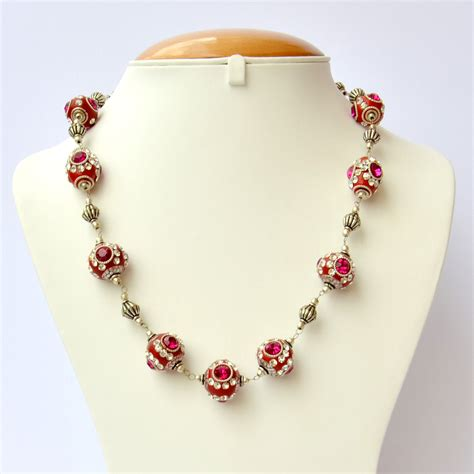 Handmade Necklace - handmade necklace studded with pink white