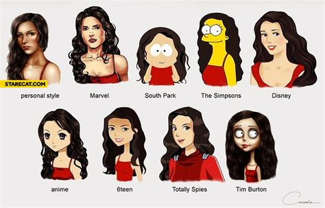 dofferent styles of the crunch haorstyle same woman different drawing styles jpg 735 215 470