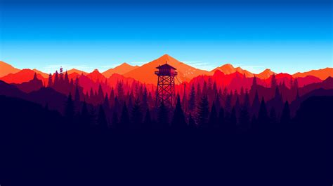 minimalist mountains download 3840x2160 firewatch forest landscape in game