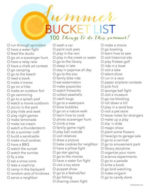 summer list 100 things to do in summer the idea room