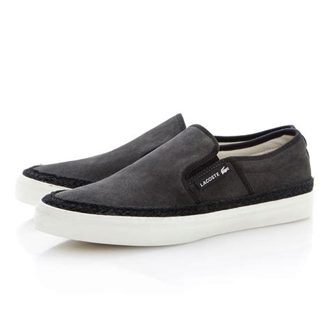 lacoste gazon 2 apron slip on casual shoes in gray for