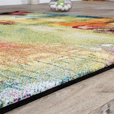 teppiche bunt designer teppich bunt leinwand optik splash mutlicolour