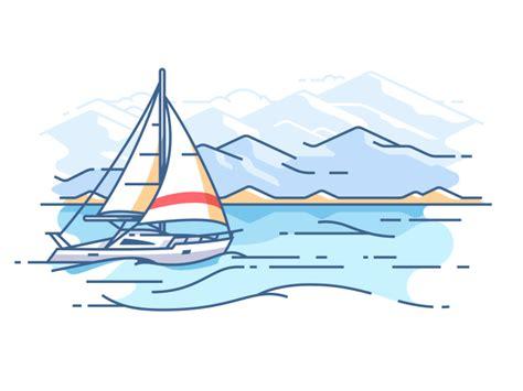 boat ocean drawing sailing yacht in sea illustration