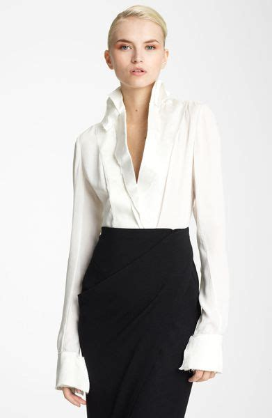 donna karan new york collection satin featherweight crepe blouse in white ivory lyst