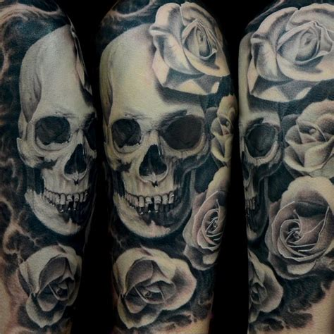 skull with roses tattoo black and gray skull and by jose perez jr