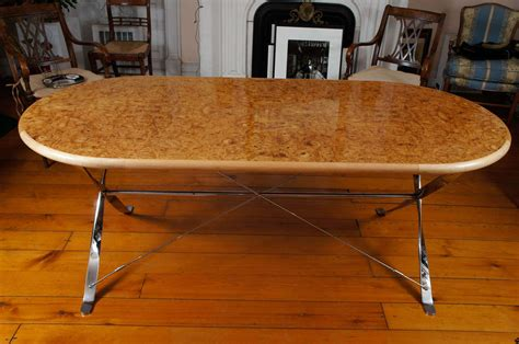 curly maple extending dining table at 1stdibs oval burl maple dining table on stainless steel base for