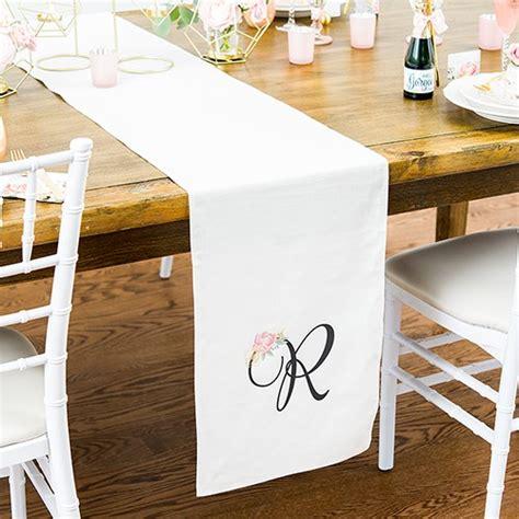 white linen table runner monogrammed table runner weddingstar