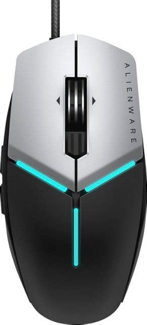 alienware aw959 elite wired optical gaming mouse with rgb lighting black and silver aw959 best buy