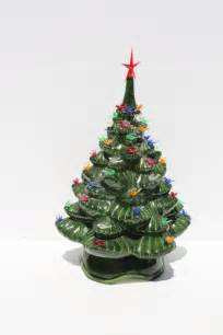 vintage ceramic christmas tree lighted bird bulbs