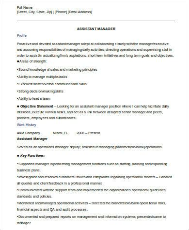 Resume Format For Assistant Manager by 8 Sle Assistant Manager Resumes Sle Templates
