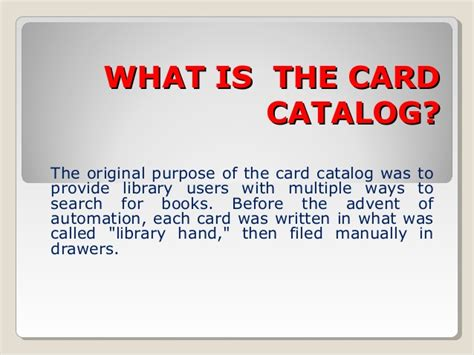 what is card card catalog elementary