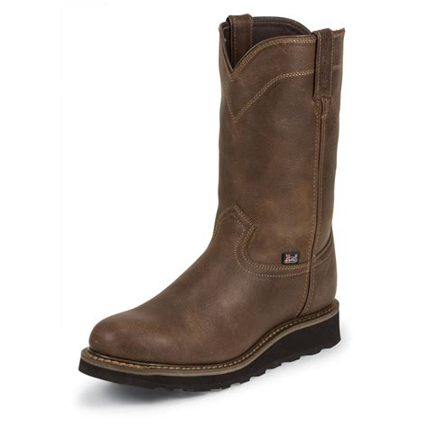mens wedge boots s justin worker ii 10 quot rugged utah waterproof pull on