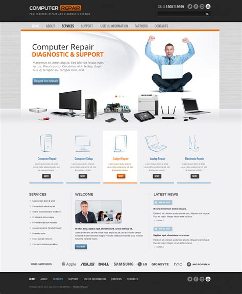 pc themes repair computer repair wordpress theme template gridgum