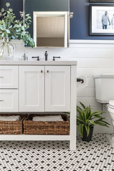 navy dual bathroom vanity  white marble top transitional bathroom