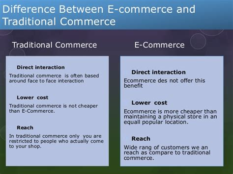 difference between the traditional and e commerece v s traditional commerce