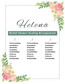 bridal shower seating chart template banquet seating chart template in microsoft word