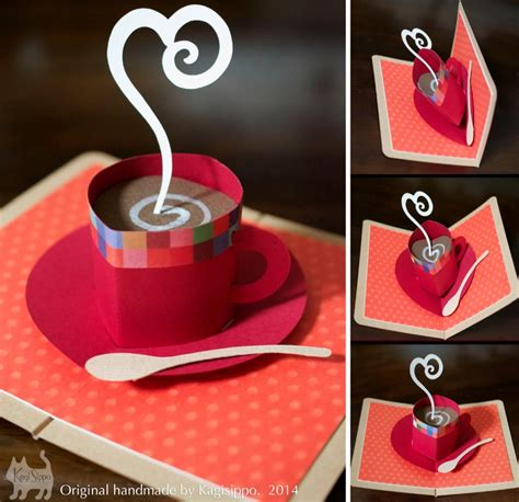 diy pop up card templates original handmade pop up card coffee