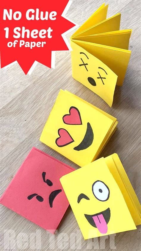 Crafts With Only Paper - emoji mini notebook diy one sheet of paper ted