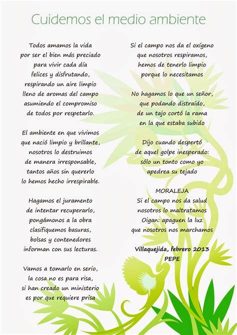 poesias cortas del medio ambiente hogares verdes mansurle poema quot cuidemos el medio ambiente quot