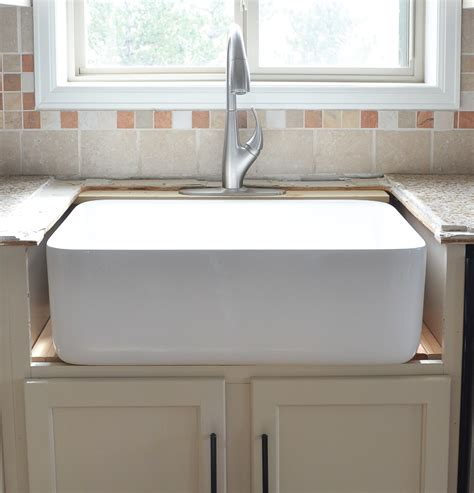 how to install a farmhouse sink kitchen progress installing the farmhouse sink
