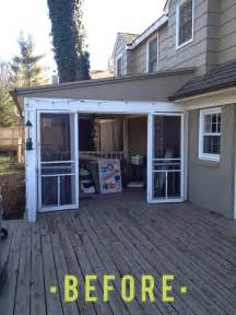 turning a porch into a sunroom we are the brewers before and after porch turned mudroom