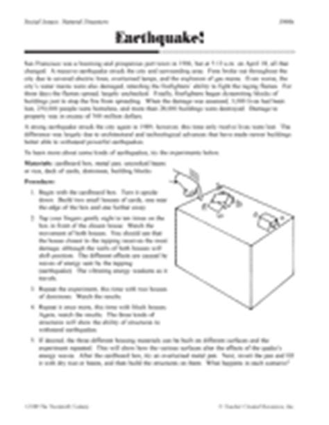 Tsunami Worksheets For Middle School by Earthquake Printable 5th 8th Grade Teachervision
