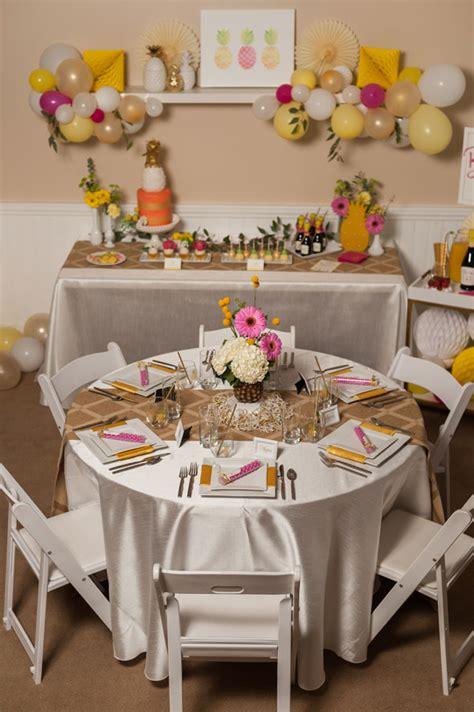 bridal shower table settings pineapple themed bridal shower