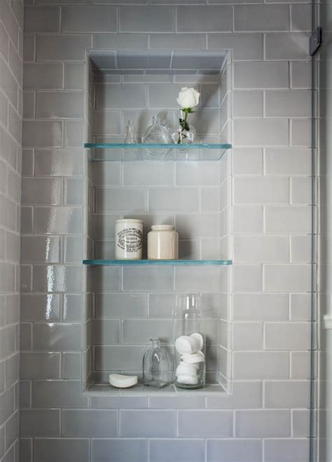 beautiful serene bathroom   glass shelves