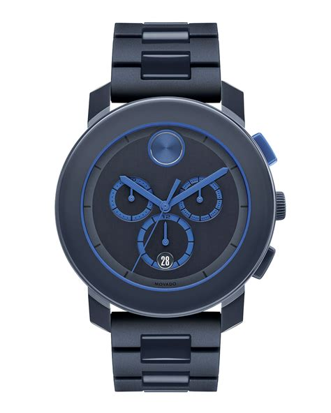 movado 43 5mm bold chronograph in blue for lyst