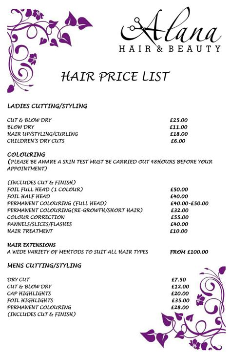 haircut price list hairstyle price list wedding hair hair salon price list exles newhairstylesformen2014 com