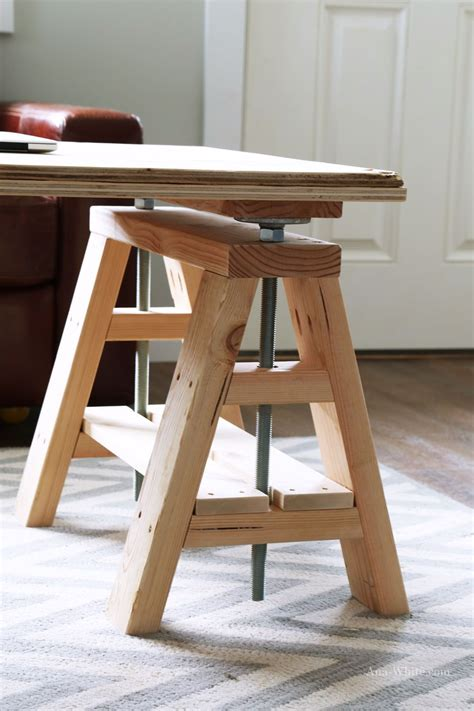 diy sawhorse desk white build a modern indsutrial adjustable sawhorse desk to coffee table free and easy