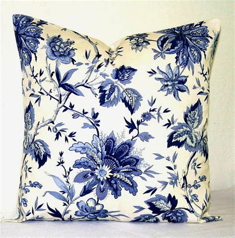 Blue And White Decorative Pillows Navy Blue And White Floral 18 Inch Decorative Pillows By