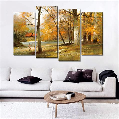 canvas prints home decor 4 panels modern wall painting oil painting autumn canvas