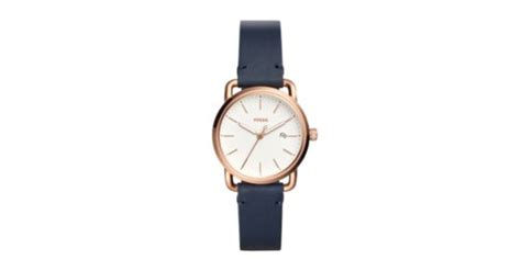 Fossil Fs0103 Navy Blue the commuter three date navy leather fossil