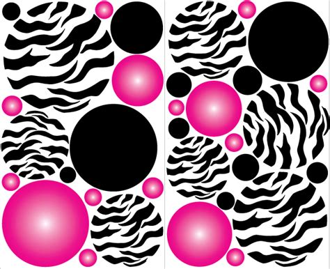zebra print stickers for walls zebra print pink radial dot wall stickers decals