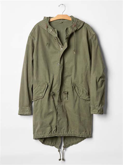 Parka Gap Green Original gap fishtail parka jacket in green for new army green lyst