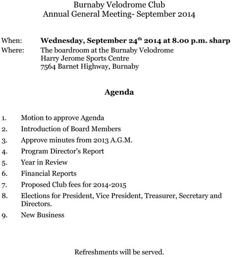 agenda for agm template special events archives burnaby velodrome clubburnaby