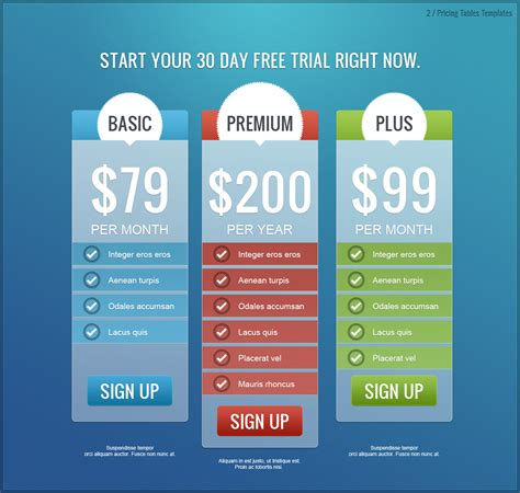 price template design pricing tables