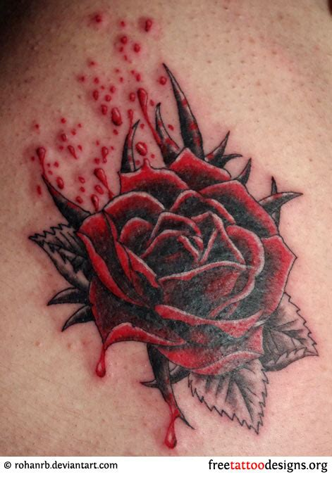 bleeding black rose tattoo tattoos