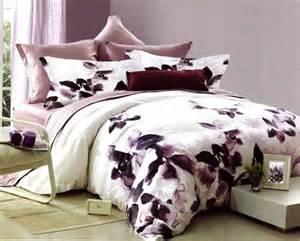 King Size Duvet Covers 100 Cotton 3pc Plum Mauve White Watercolor Floral Bloom 200tc Cotton