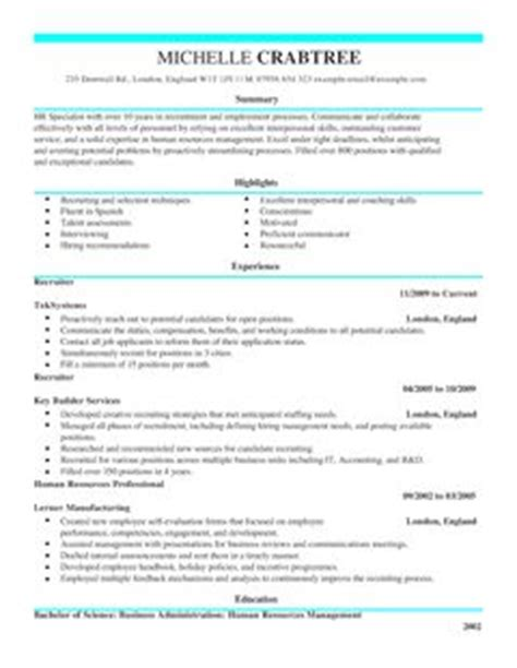 recruiter cv template recruiter cv examples livecareer